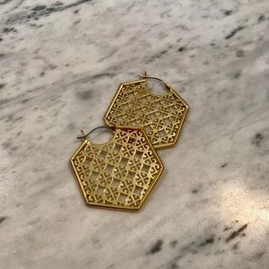 Tory Burch Hexagon Logo Hoop Earrings